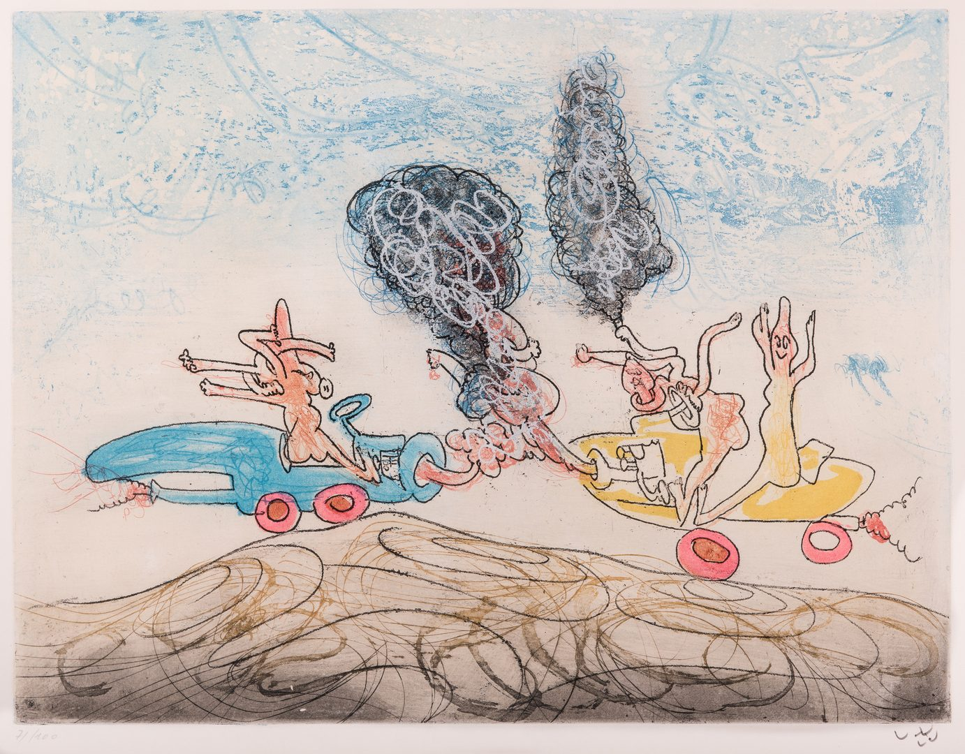 Lot 594: Roberto Matta etching, Les Oh Tomobiles
