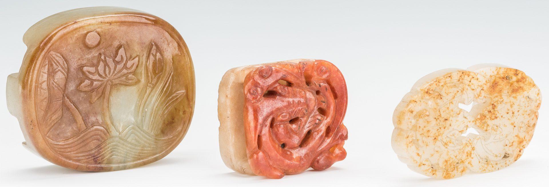 Lot 5: 3 Chinese Celadon & Russet Jade Buckles