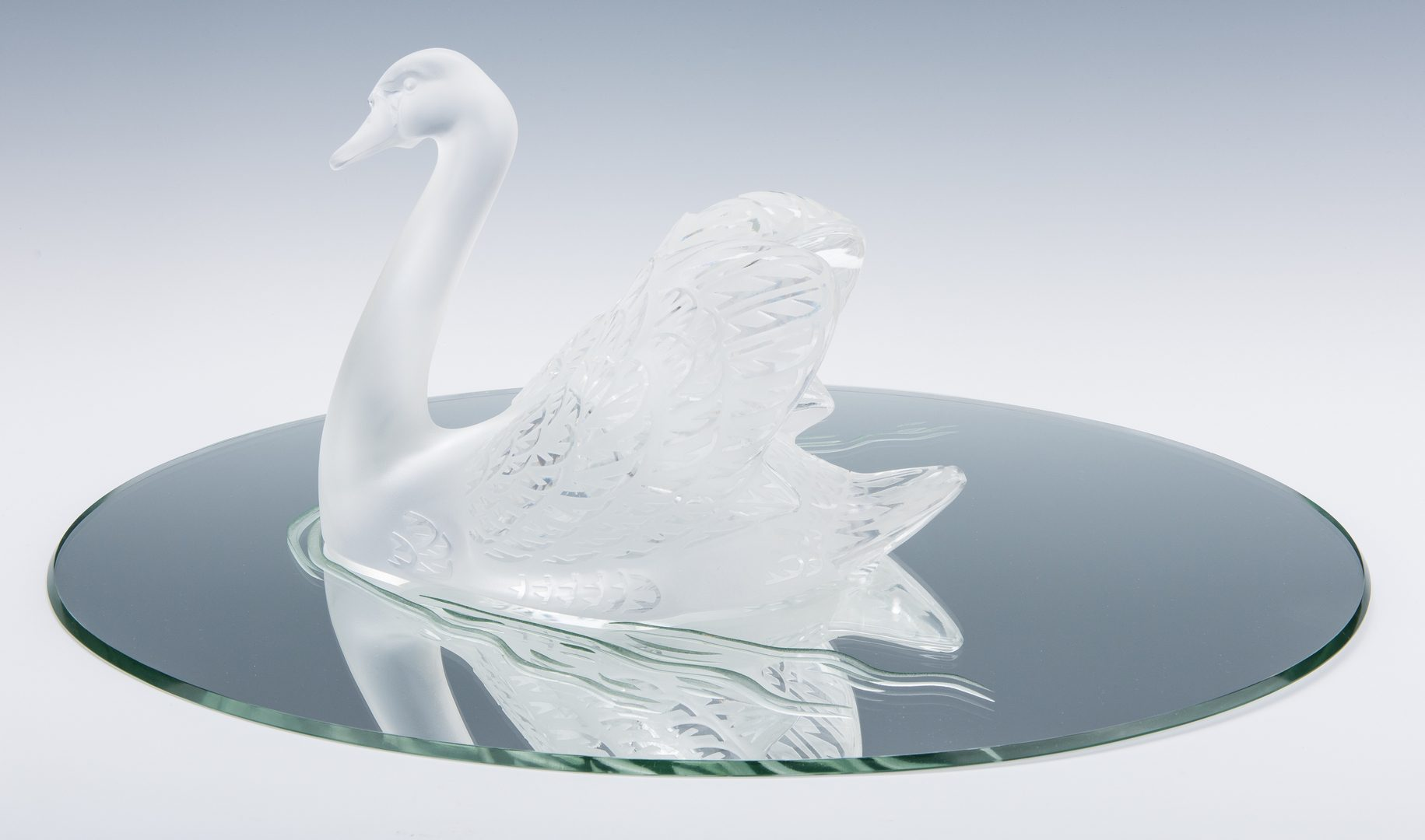 "Lot 605: Lalique Crystal Swan on Mirror ""Cygne"""