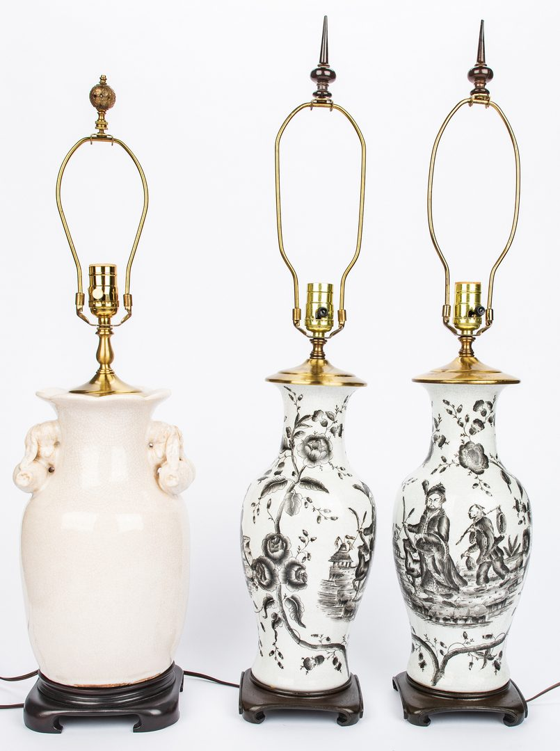 Lot 617: 3 Crackle Glaze Lamps, inc. Chinese Export