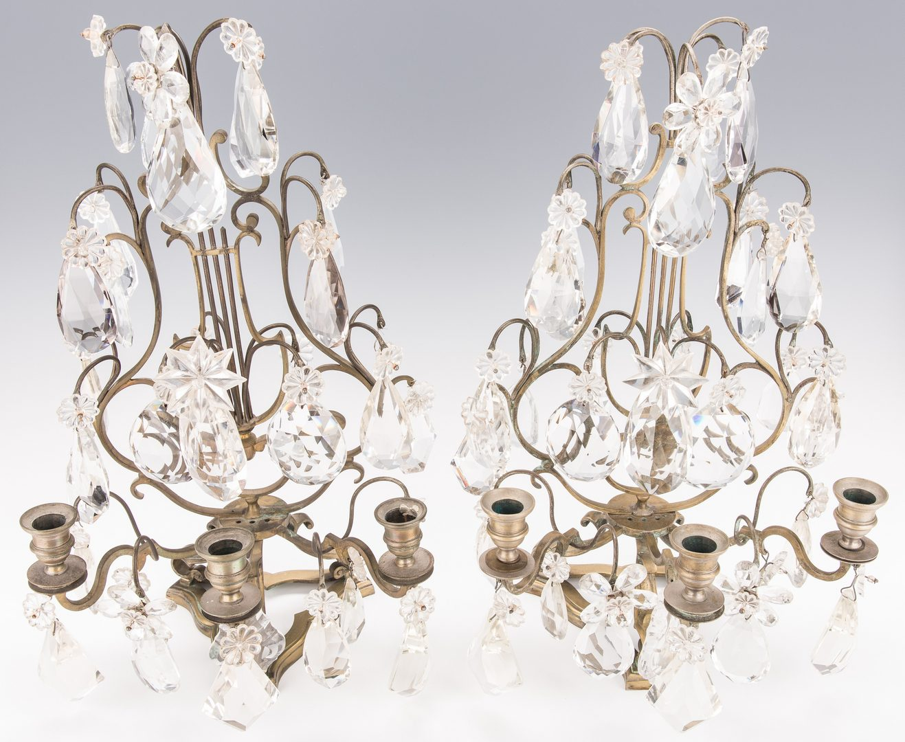 Lot 618: Pair Gilt Bronze Crystal Girandoles