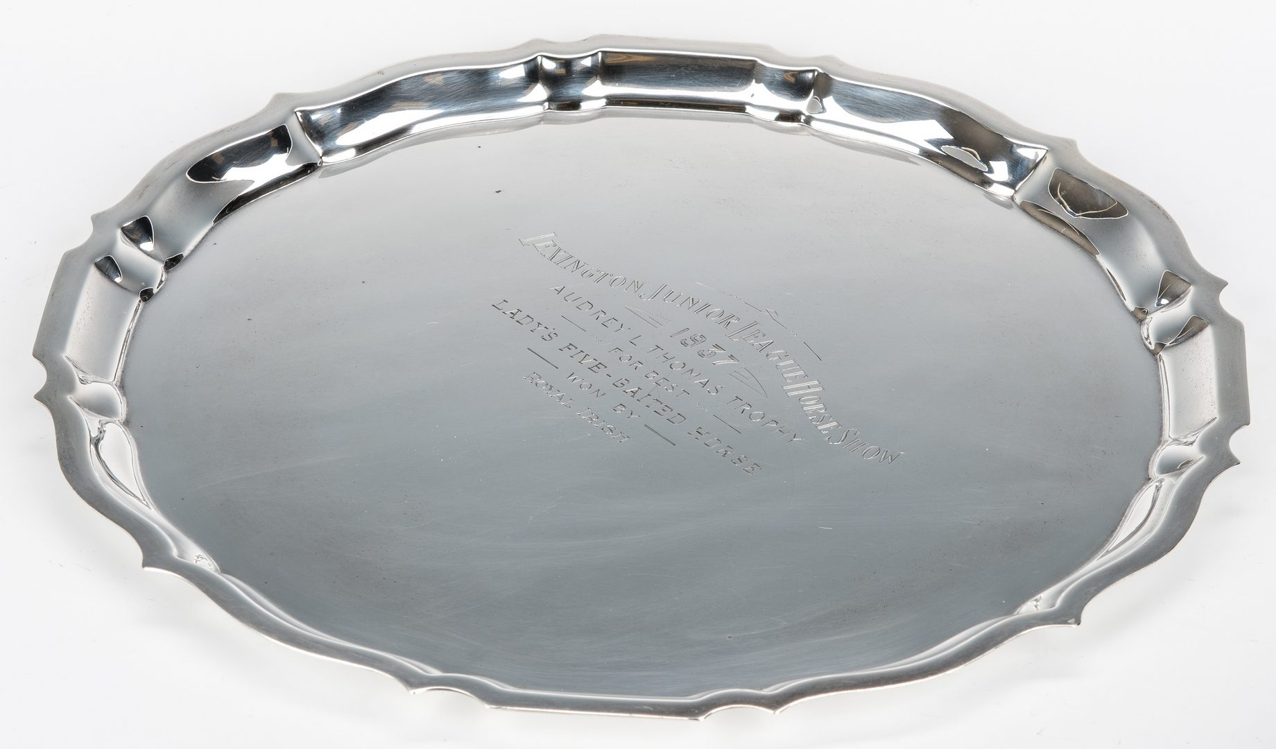 Lot 623: 2 Sterling KY Horse Show Trophy Items: Tray; Covered Server