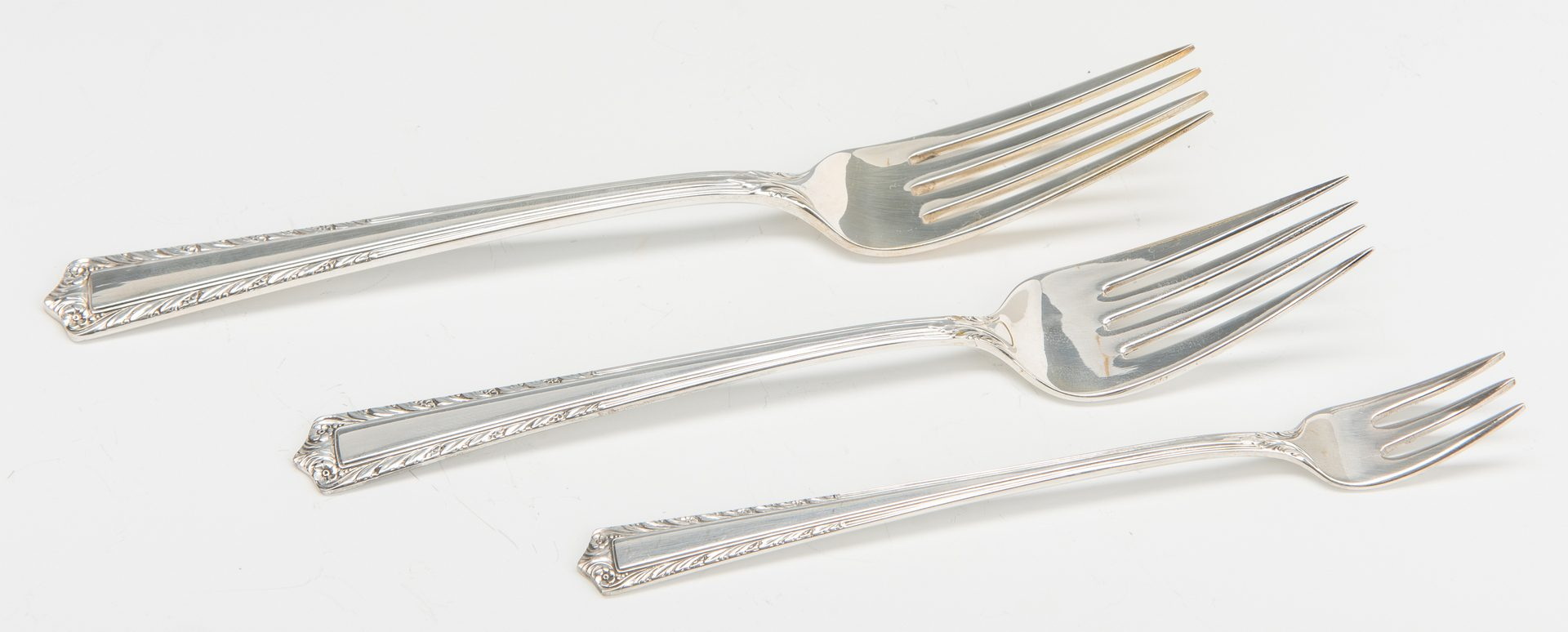 Lot 633: 55 Pcs Fine Arts Sterling Flatware, Processional pattern