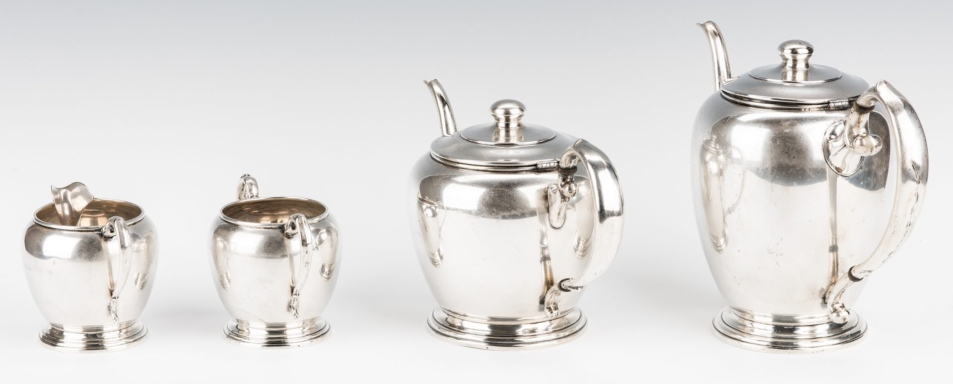 Lot 635: 4 pc Manchester Sterling Coffee/Tea Set