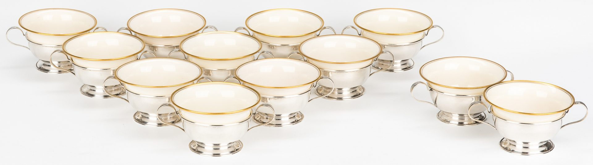 Lot 637: 12 Sterling Demitasse Cups w/ Inserts & 6 Sterling Sorbet Cups