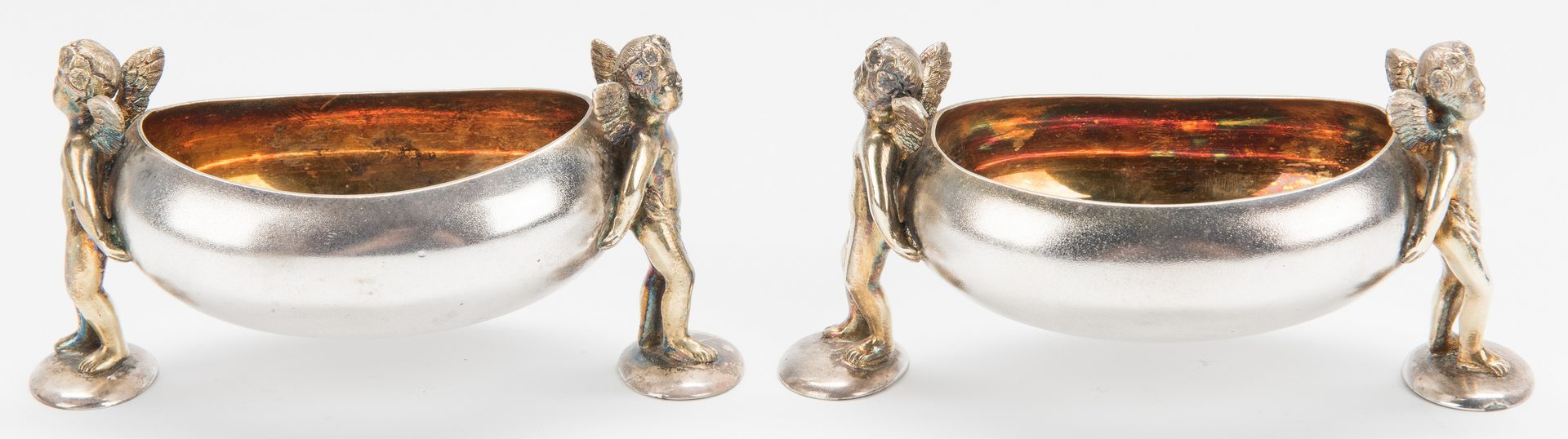 Lot 639: Cherub Figural Salt Set, Cased