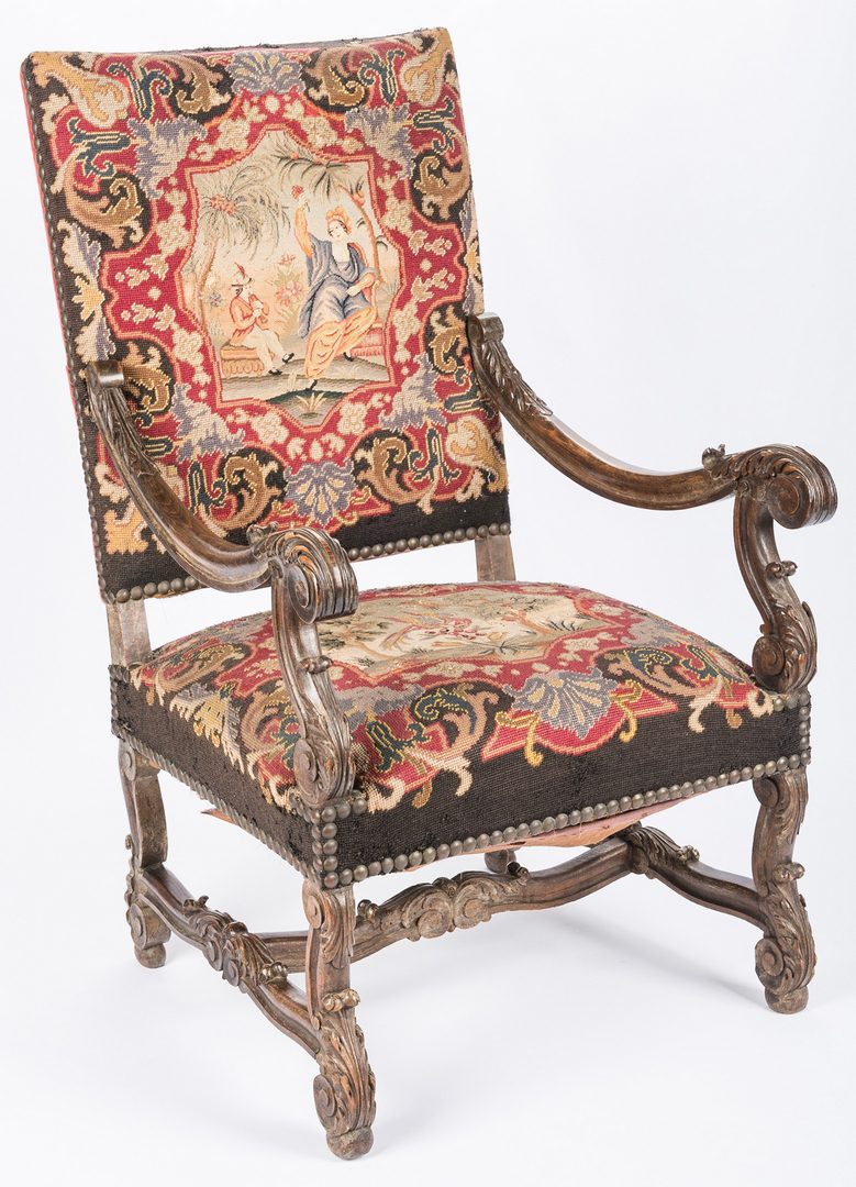 Lot 641: 2 Baroque Continental Needlepoint Chairs