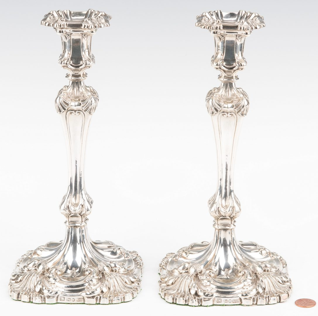 Lot 65: Pair Victorian Sterling Candlesticks