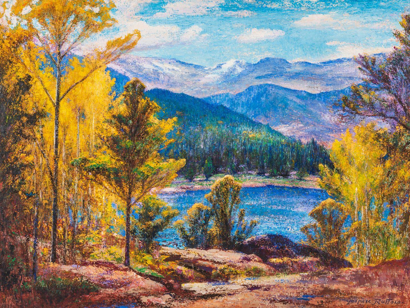 Lot 670: Gaspere Ruffolo O/B Impressionist Western Landscape