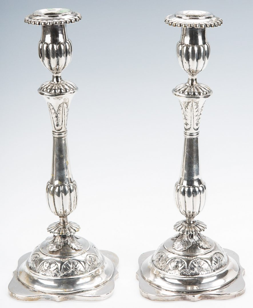 Lot 67: French Silver Teapot & 2 Continental Candlesticks