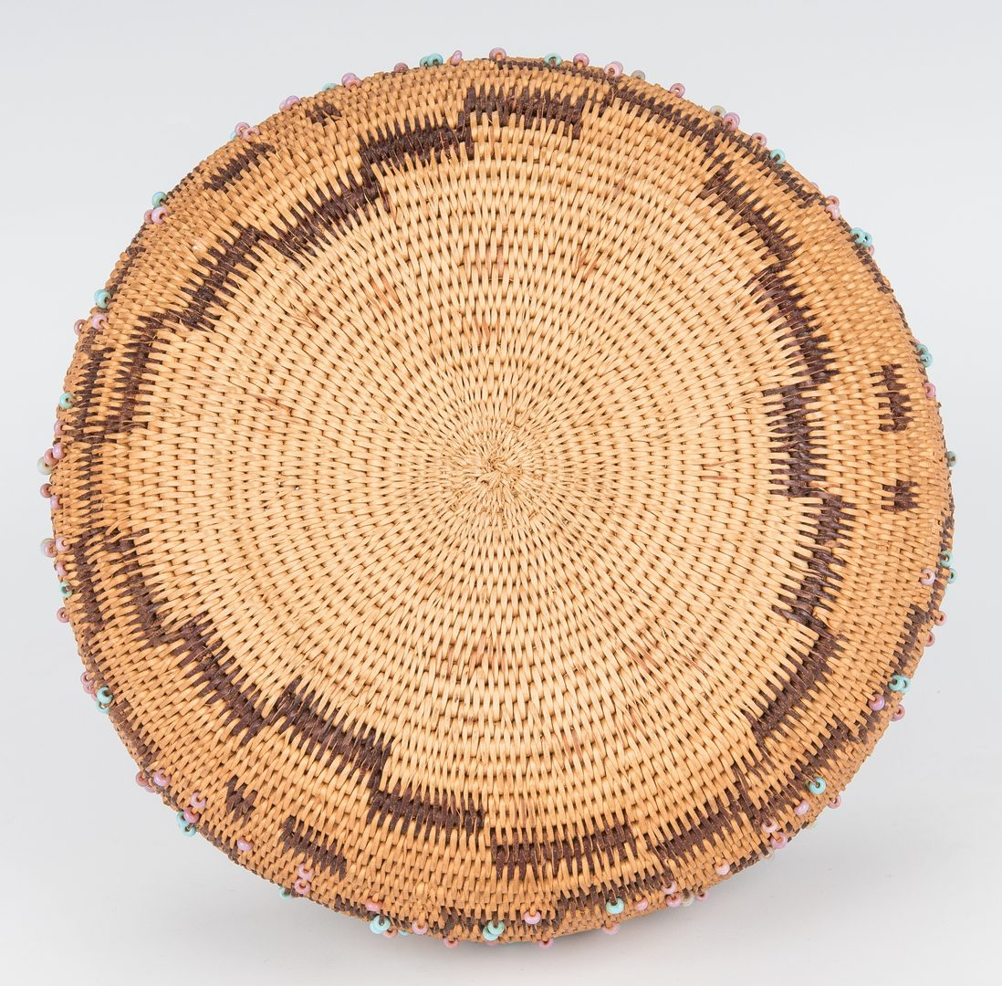 Lot 686: 2 Native American Pomo Baskets, 1 Feather