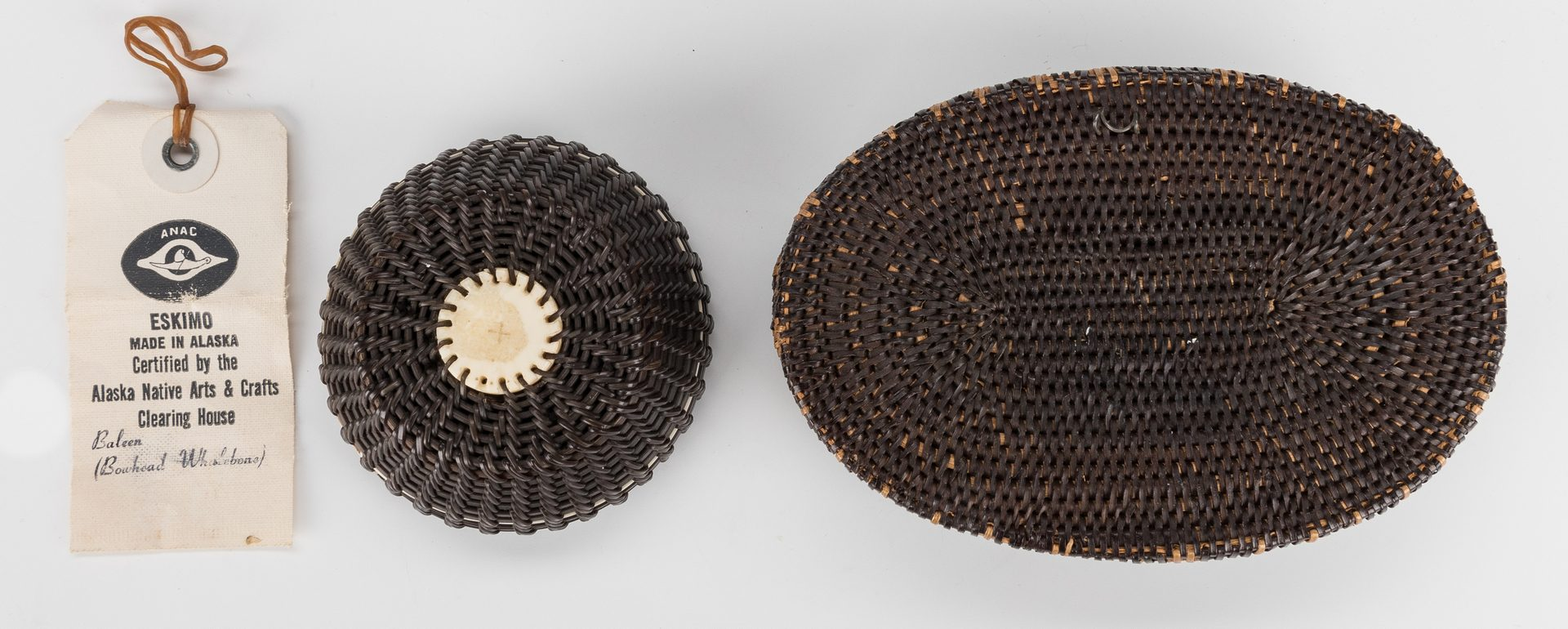 Lot 687: 5 Native American Inuit Items, inc. baskets