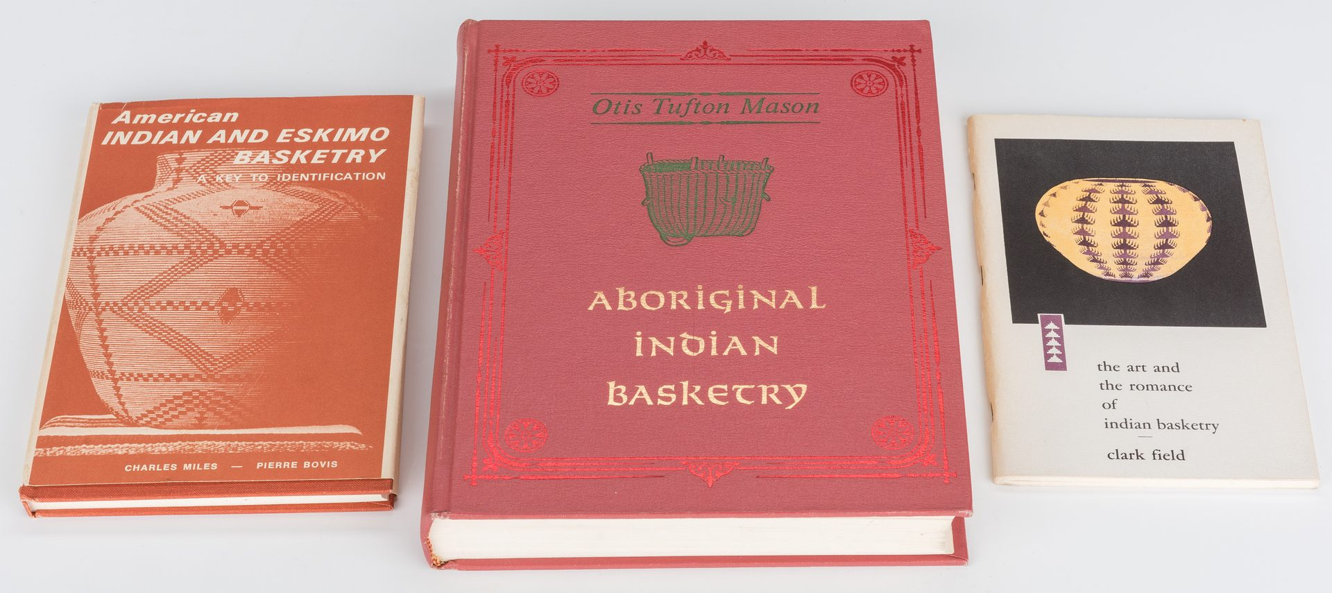 Lot 689: 3 Native American Baskets & 3 Native American Basket Reference Books, 6 pcs.