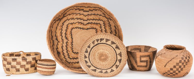 Lot 690: Group of 6 Native American Baskets