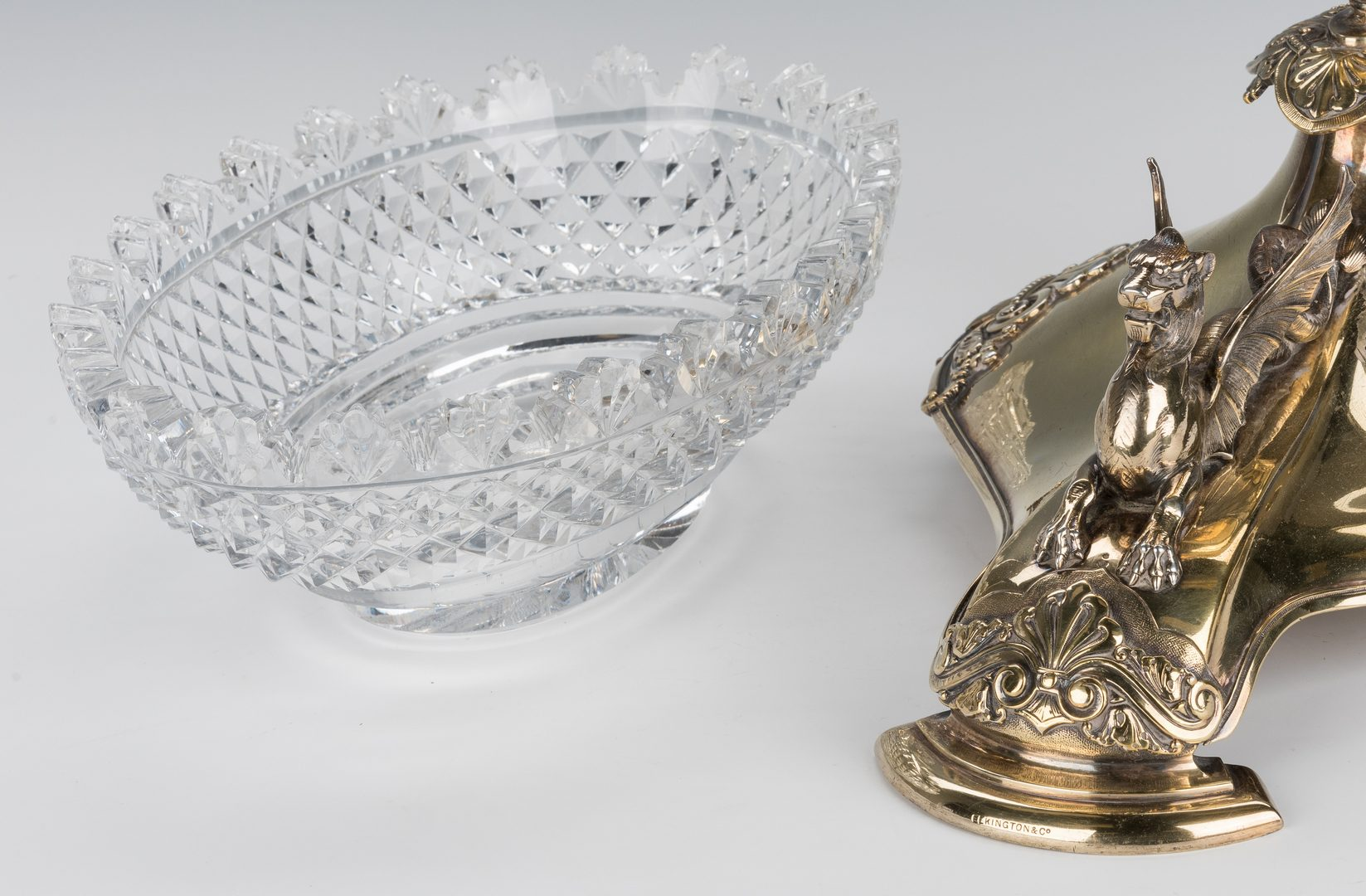 Lot 69: Elkington Gilt Centerpiece with Cut Glass Bowl