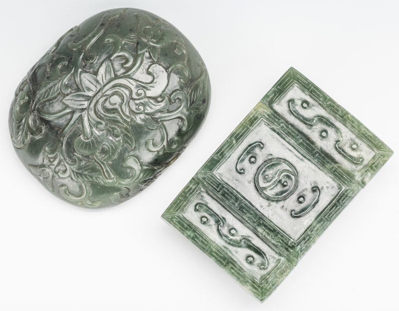 Lot 6: 2 Chinese Spinach Jade Buckles