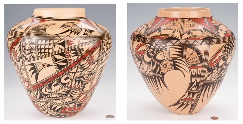 Lot 707: 2 Loretta Silas Hopi Polychrome Pottery Jars