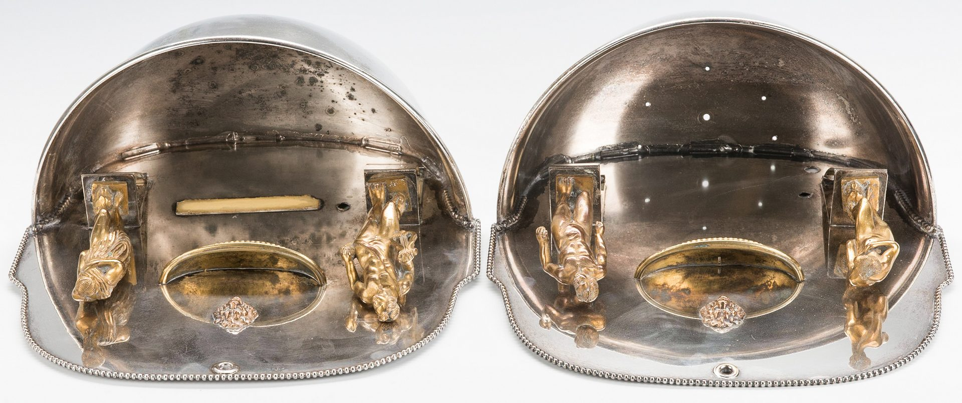 Lot 70: Pair Silverplated Classical Wall Pockets