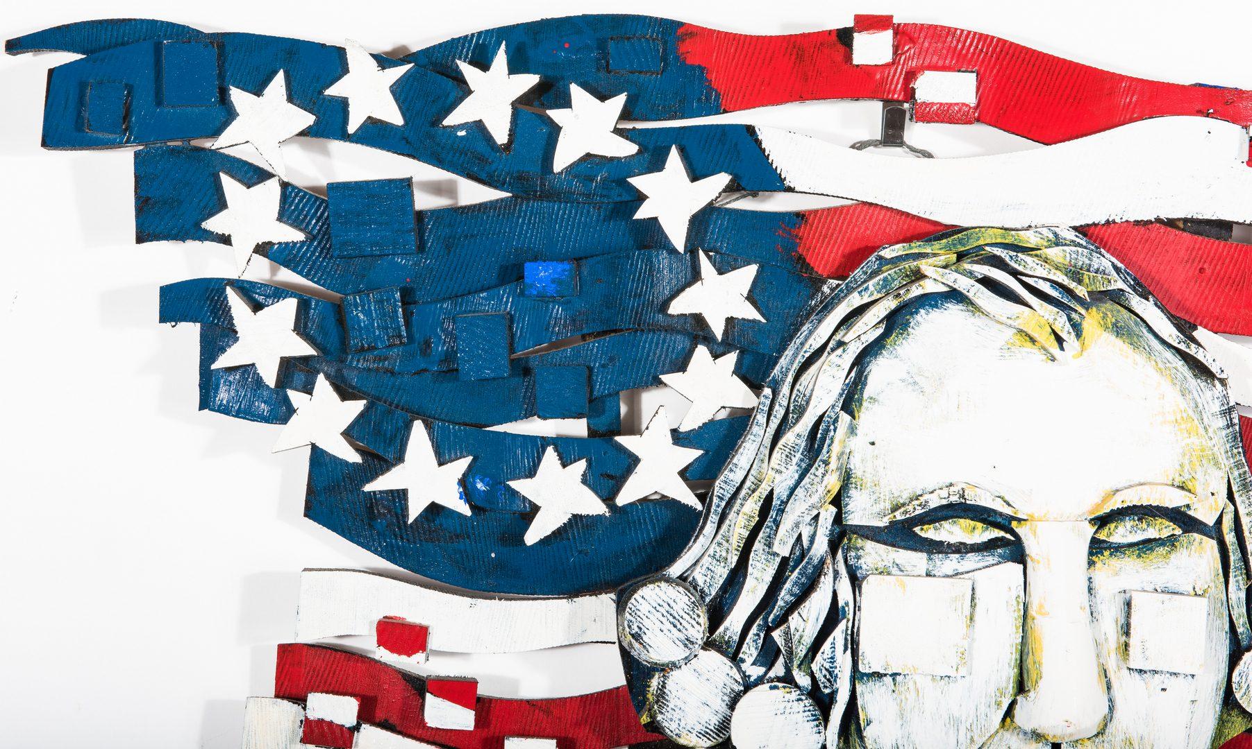 Lot 714: Ab the Flagman Folk Art Flag & Washington Carving