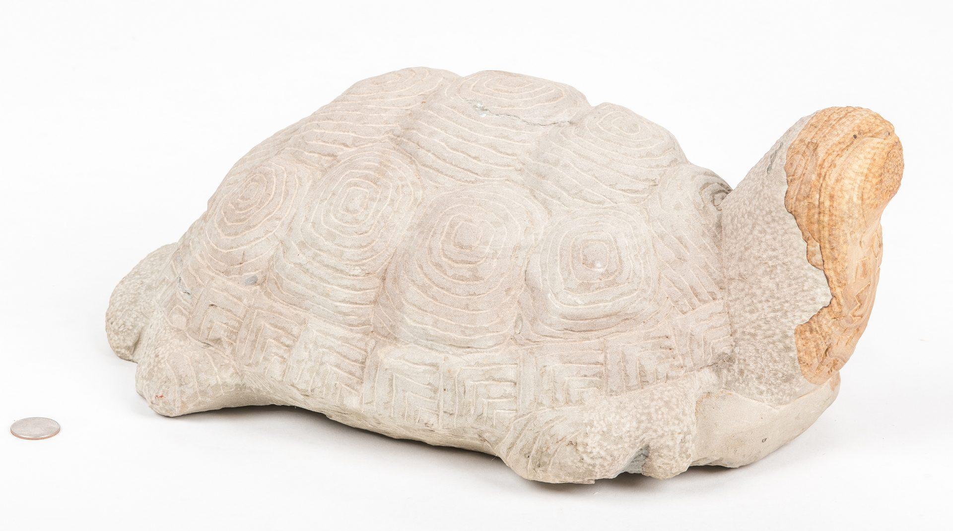Lot 716: Tim Lewis Carved Limestone Turtle Sculpture