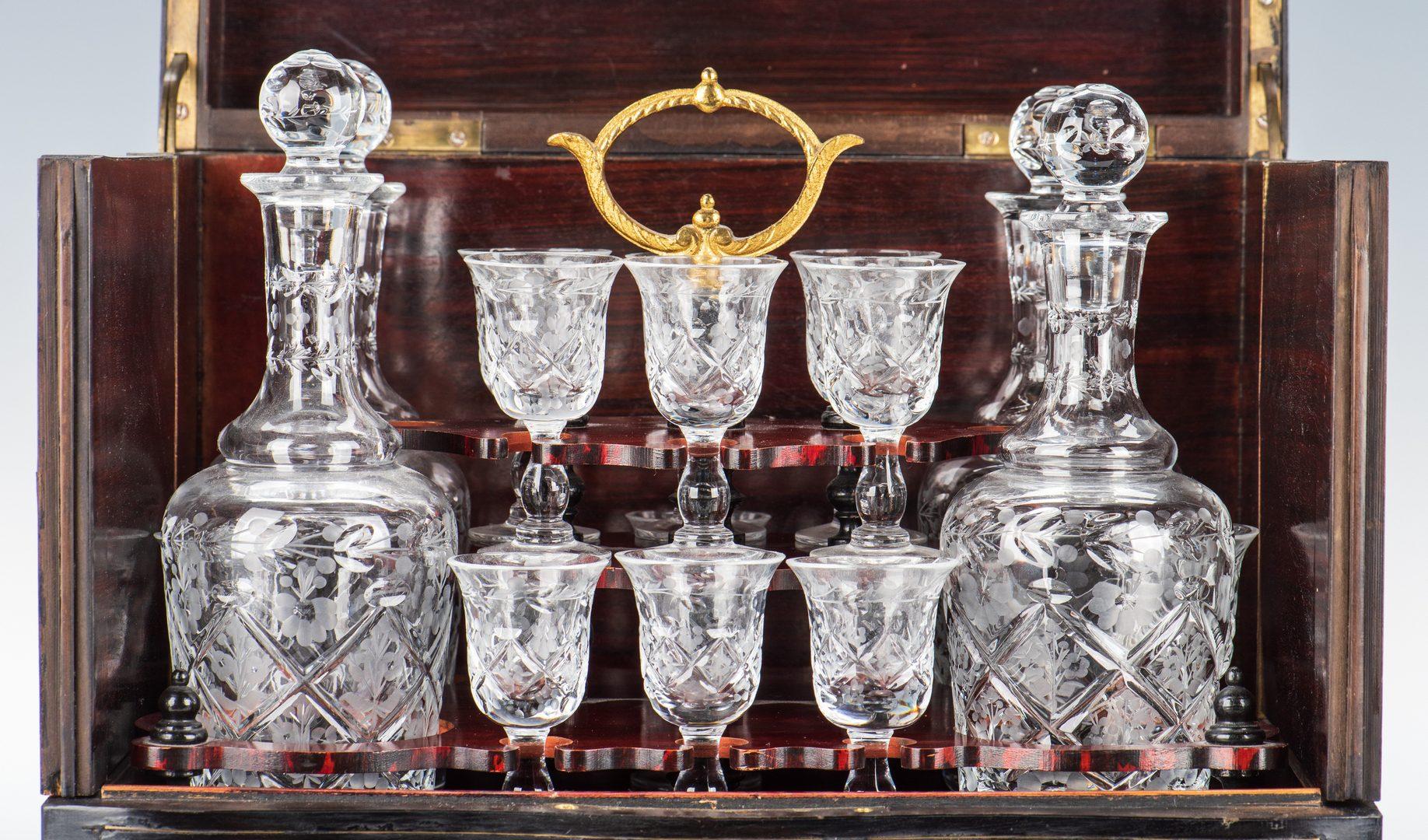 Lot 71: Napoleon III Ebony and Brass Tantalus