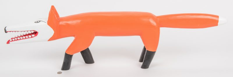 Lot 726: Minnie & Greg Adkins Carved Orange Fox