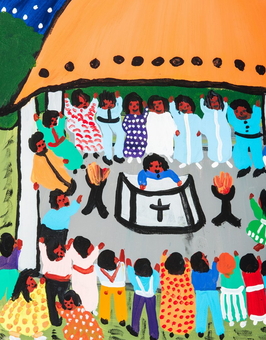 "Lot 728: Bernice Sims Painting titled ""Tent Revival"""