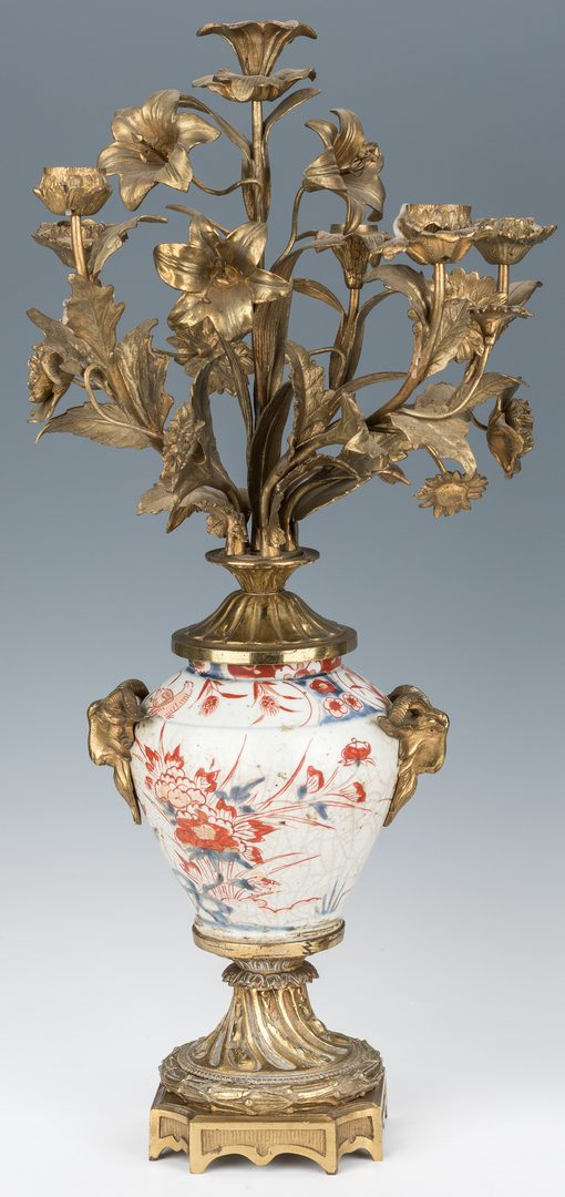 Lot 72: Pair of French Gilt Bronze & Imari Candelabras