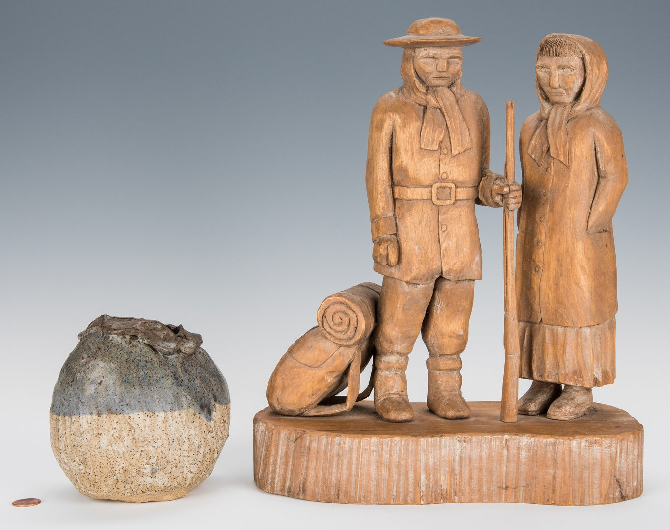 Lot 730: Roy Pace carving + Charles Counts vase