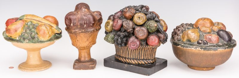 Lot 731: 4 American Chalkware Fruit Compotes