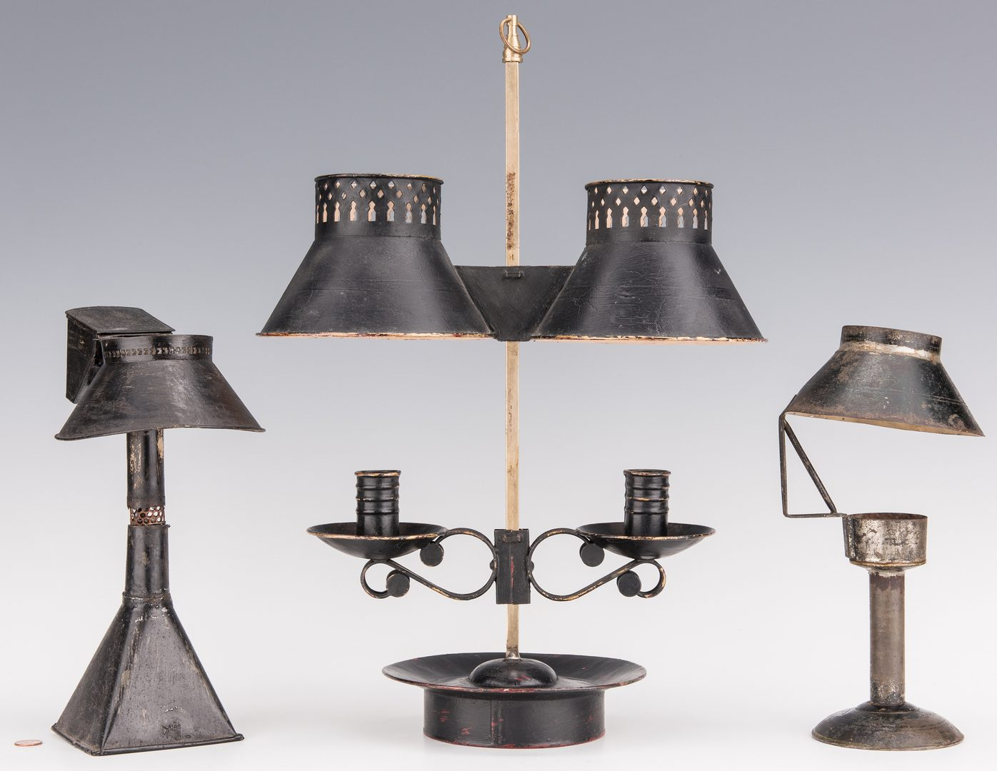 Lot 732: Tole Candle Lamps; Mirrored Sconces