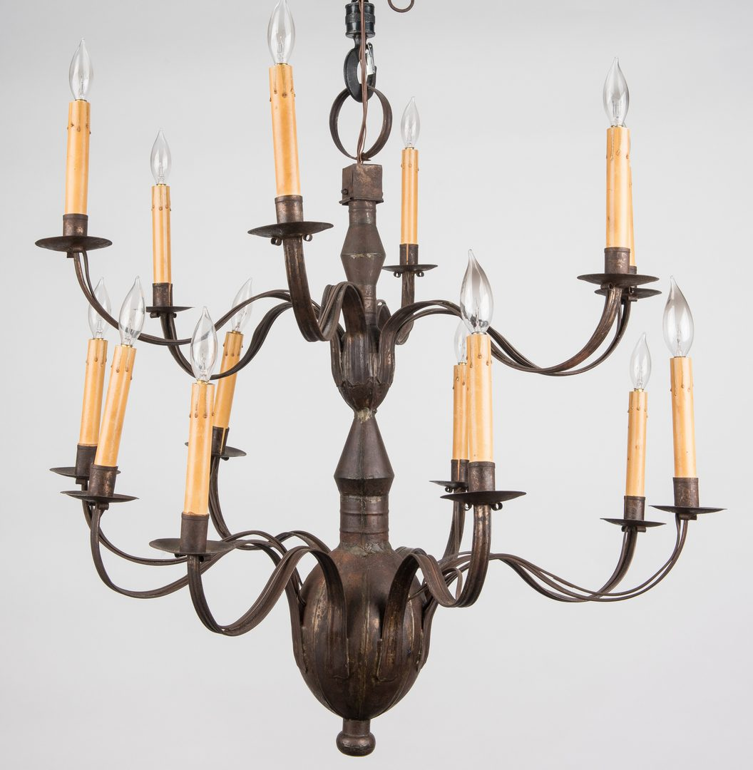 Lot 733: Colonial Style Painted Tin 14-Arm Chandelier