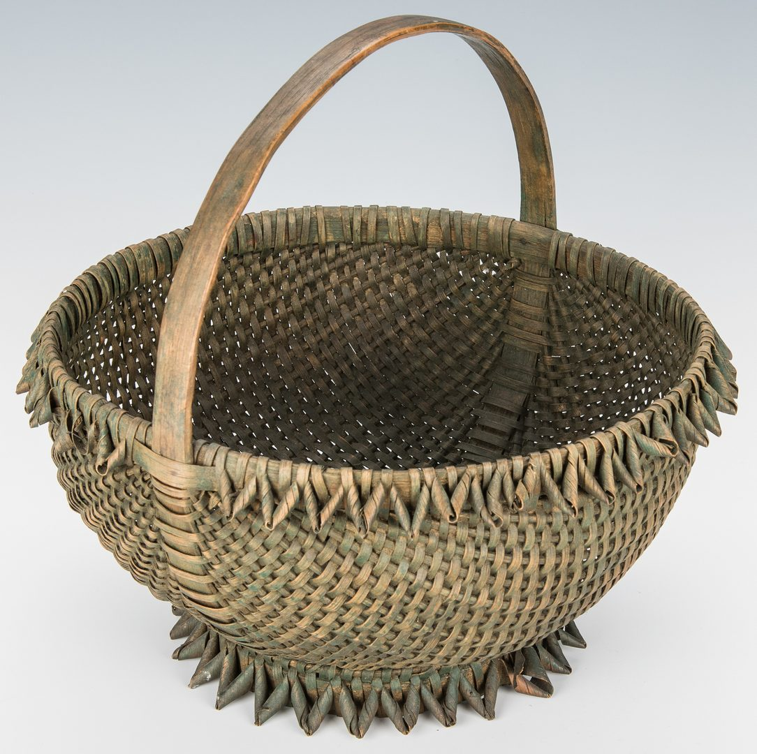 Lot 734: 4 Early East TN Buttocks Baskets; 1 Southern Split Oak Basket, Total 5