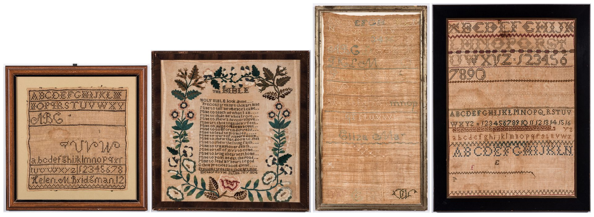 Lot 740: 4 19th Century American School Girl Samplers