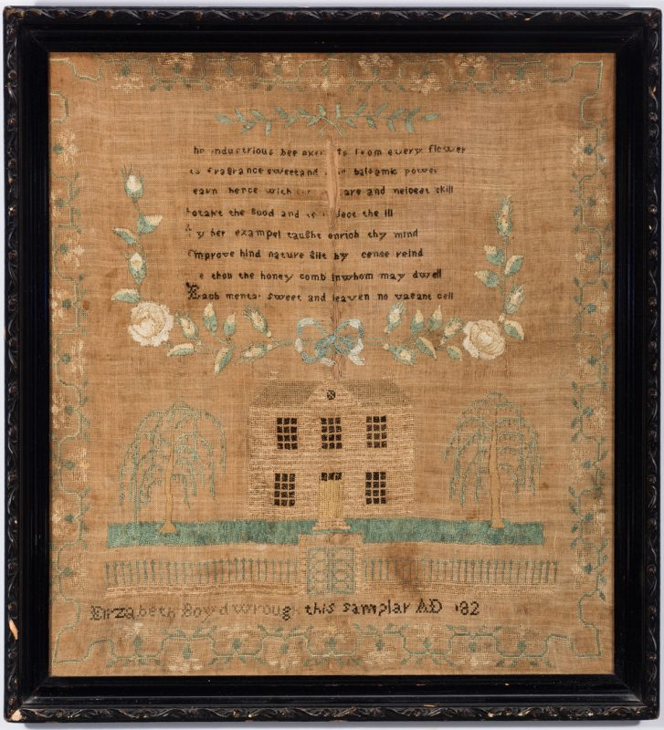 Lot 741: Maryland Needlework House Sampler, Eliz. Boyd