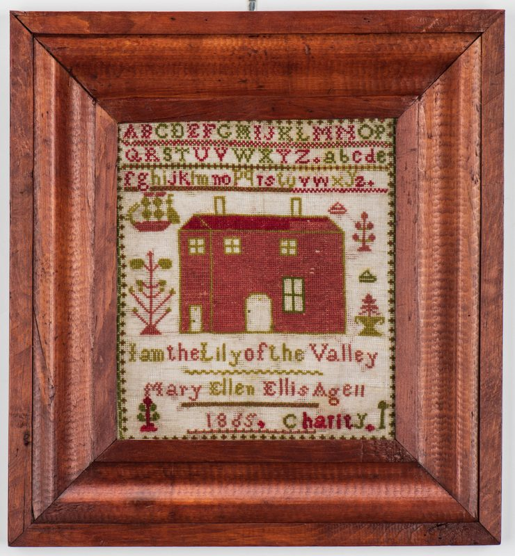 Lot 742: Kentucky House Sampler, dated 1865