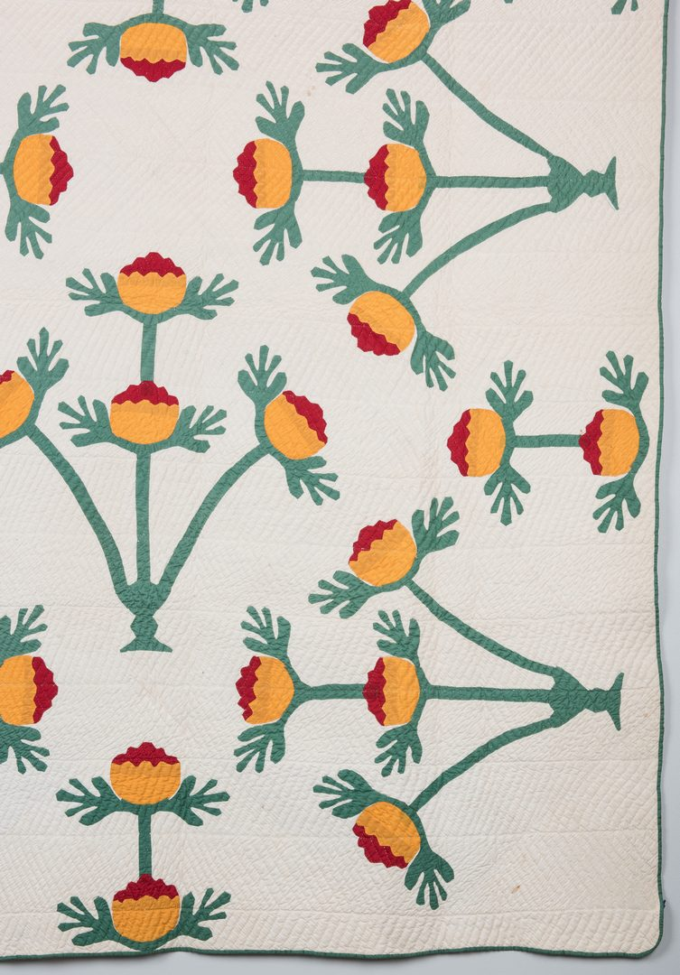 Lot 745: East TN Pieced & Appliqued Quilt, NC Lily Pattern variant