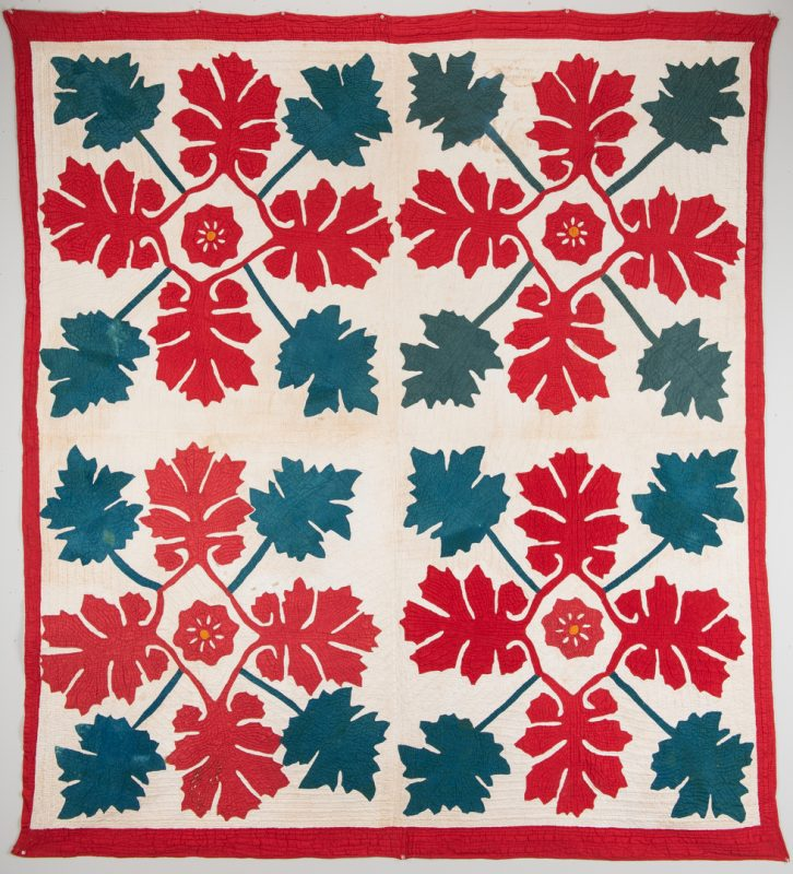 Lot 746: Southern Oak leaf quilt, 19th c.