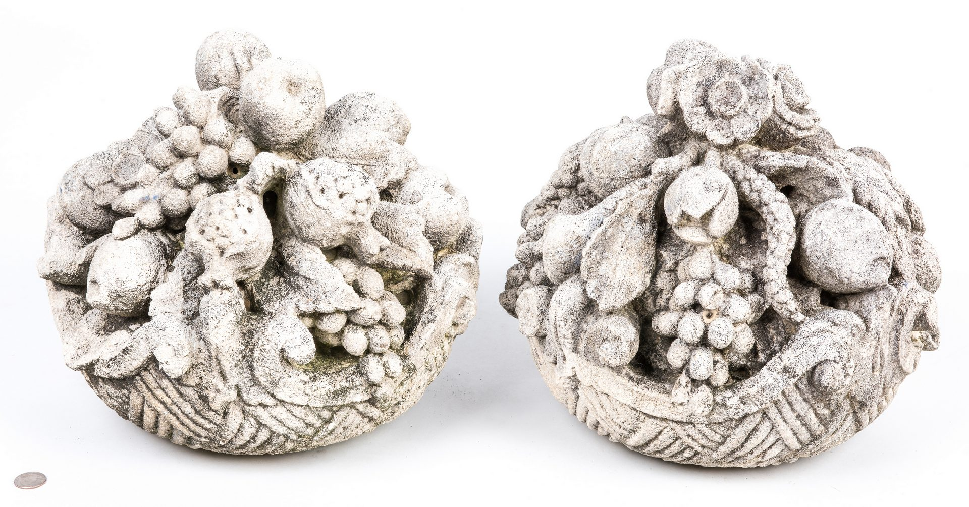Lot 748: Pair of Carved Limestone Fruit Baskets