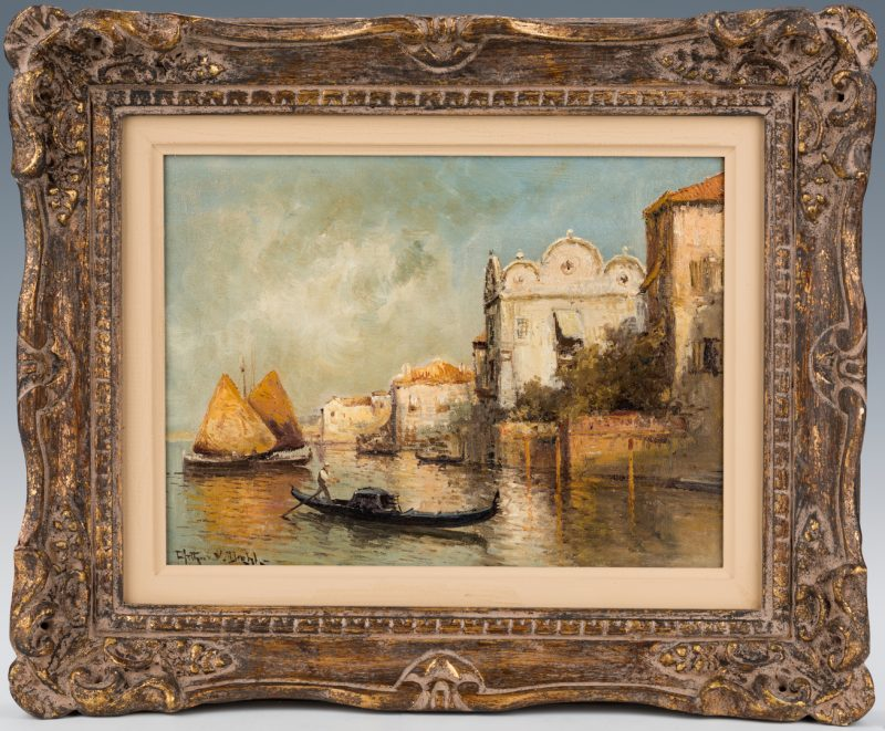 Lot 750: Arthur Diehl, O/C, Venice painting
