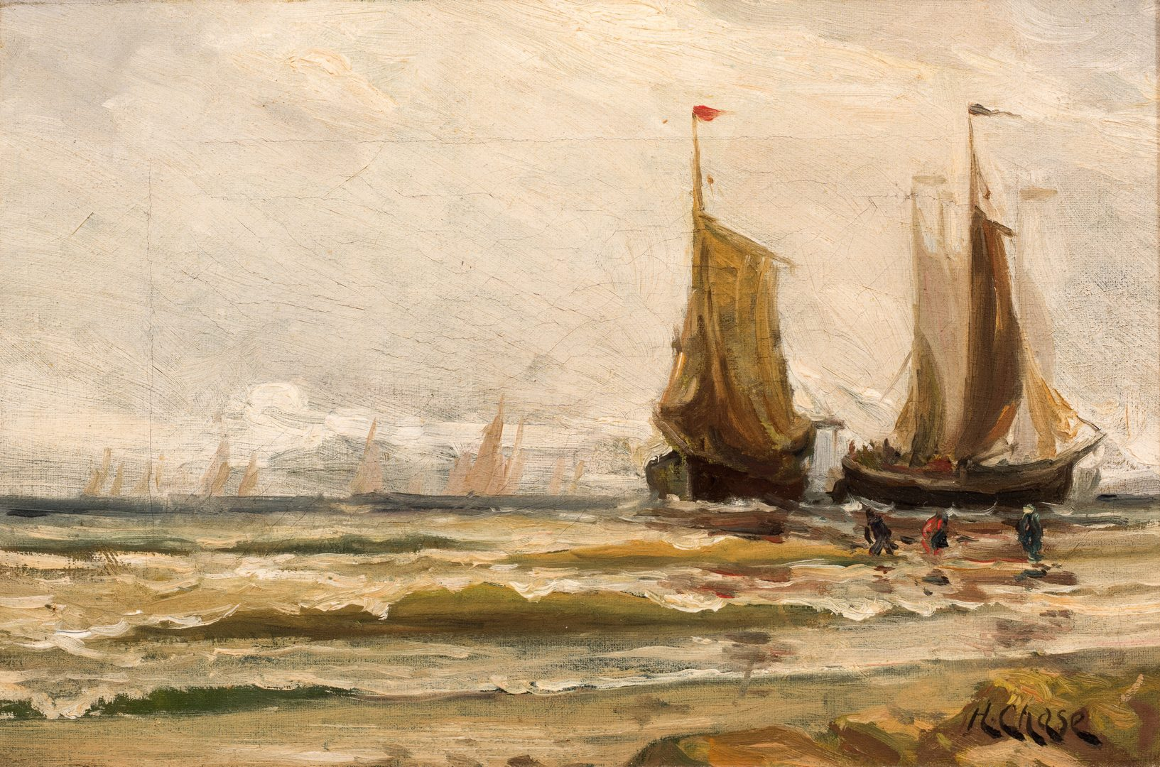Lot 751: Harry (Henry) Chase Oil on Canvas Maritime Scene