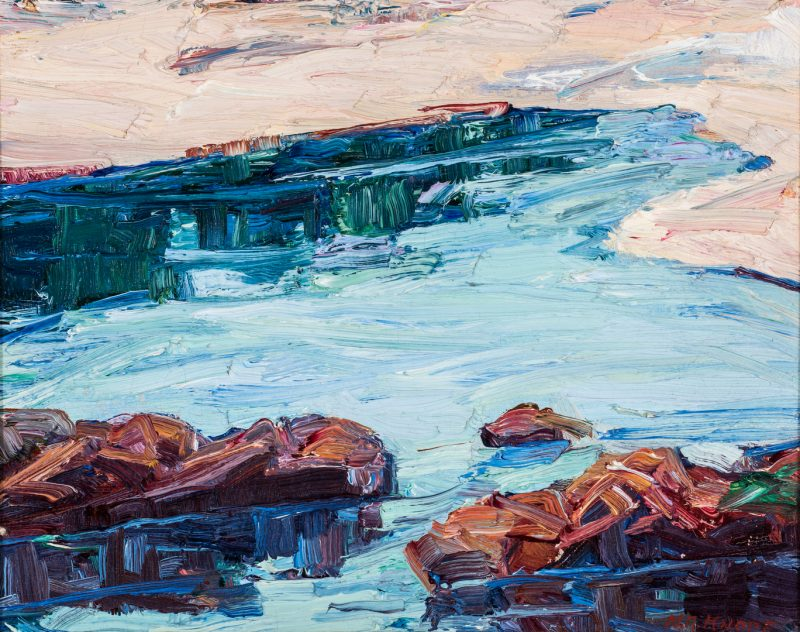 Lot 754: Nellie Knopf Oil on Board Seascape