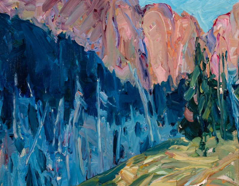 Lot 755: Nellie Knopf Oil on Board Mountain Landscape