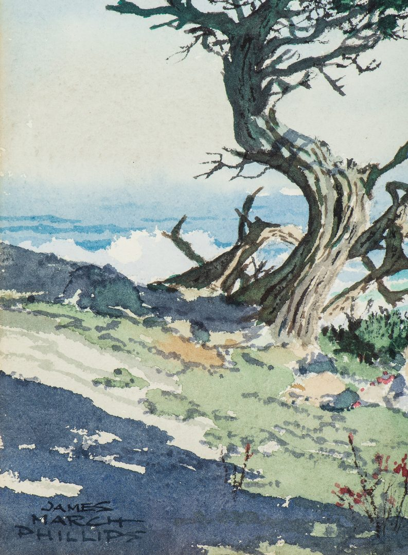 Lot 757: James M. Phillips California Watercolor Coastal Scene