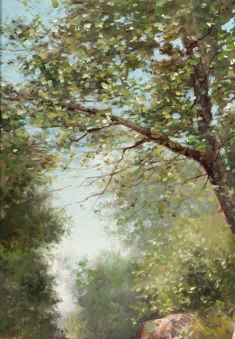 Lot 758: American School 19th c. oil landscape, signed L.W. Hart