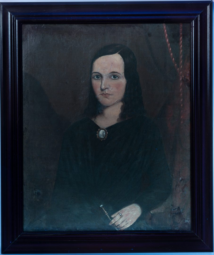 Lot 763: New England Portrait of a Young Woman