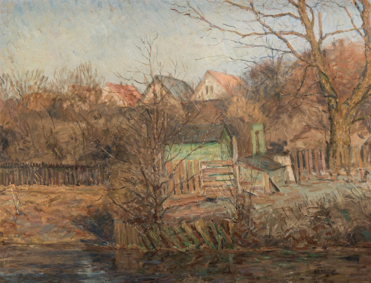 Lot 767: Large Ole Due Oil on Canvas Water Scene