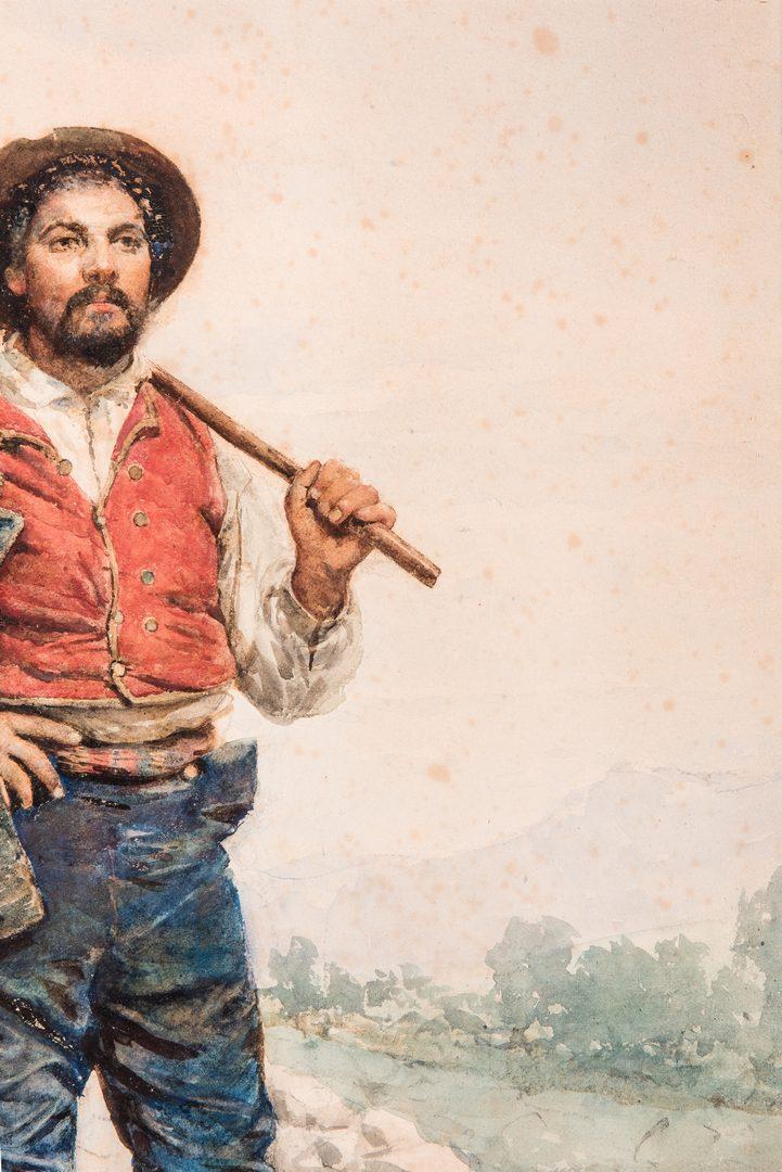 Lot 769: Maria Martinetti, Watercolor of an Italian Peasant Man