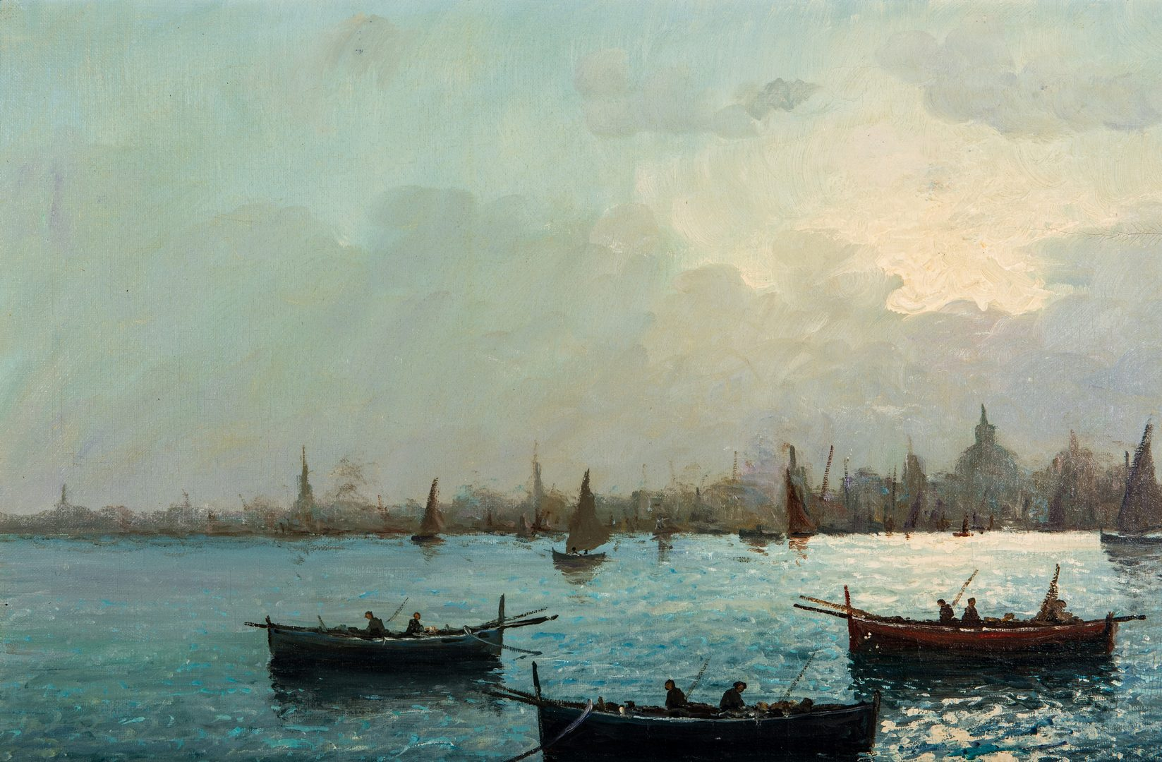 Lot 76: Vincenzo D'Auria O/C Harbor Scene