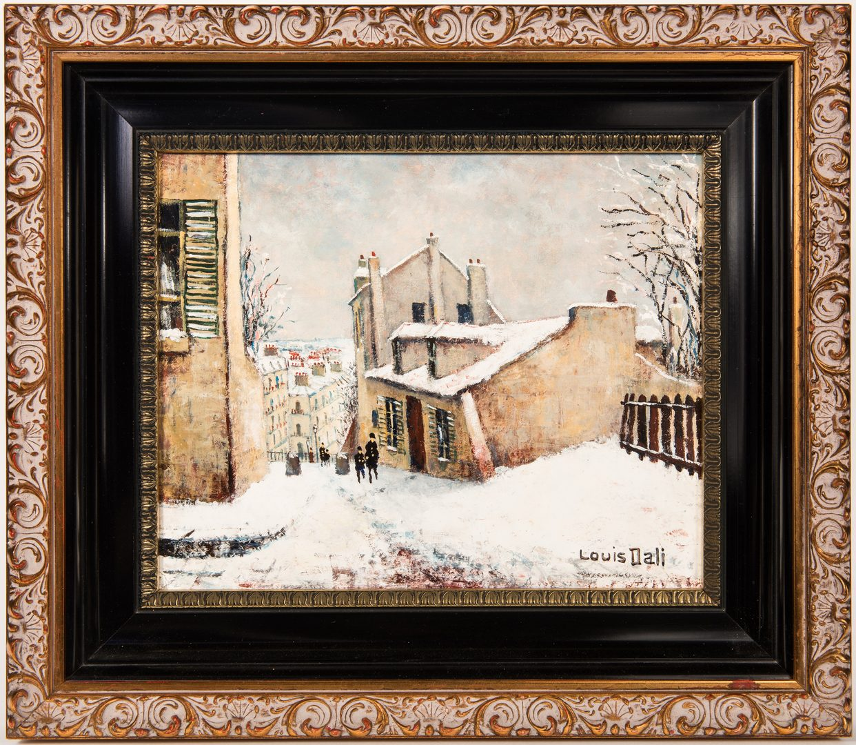 Lot 770: Louis Dali, O/C, Parisian Winter Street Scene